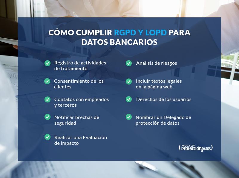 pasos cumplir ley lopd rgpd datos bancarios