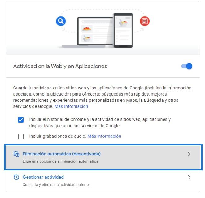 Borrar tu actividad en Google