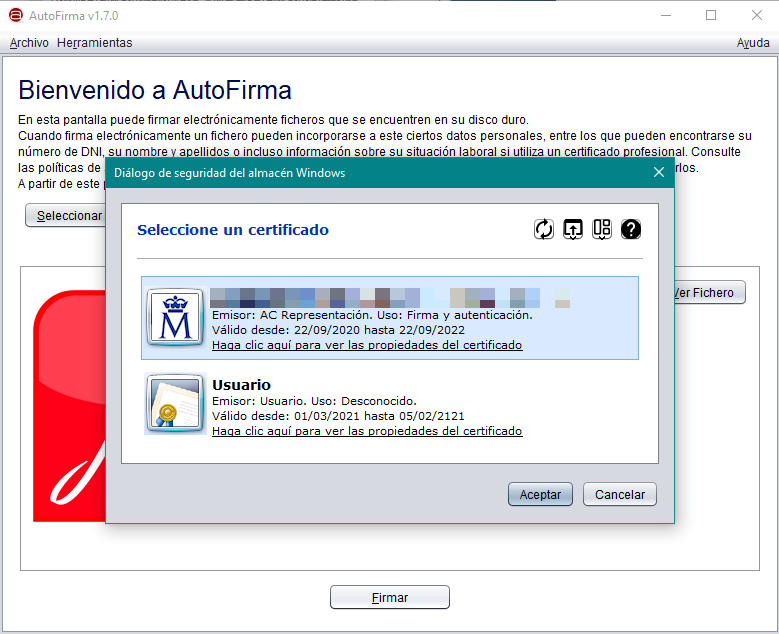 Seleccionar certificado digital para firmar