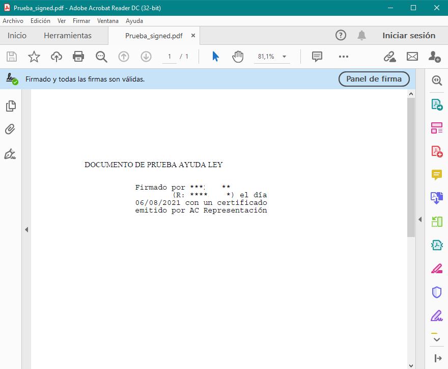 Autofirma en los metadatos del documento